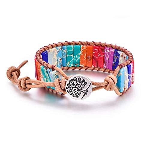 Daawqee Pulseras 7 Chakra Reiki Healing Leather Wrap Bangles Bracelet For Women Heart Tree of Life Yoga Jewelry Prayer Spirit Gift 5