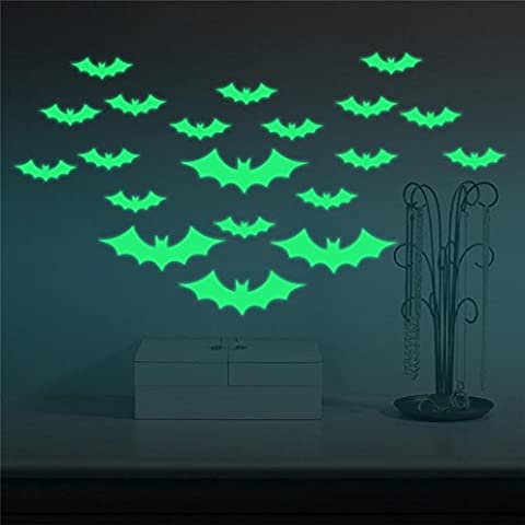 Indexp DIY Glowing in the Dark Halloween Bat Witches Wall Stickers, Creative Festival Decoration Decal (4 Large and 20 Small Bats)