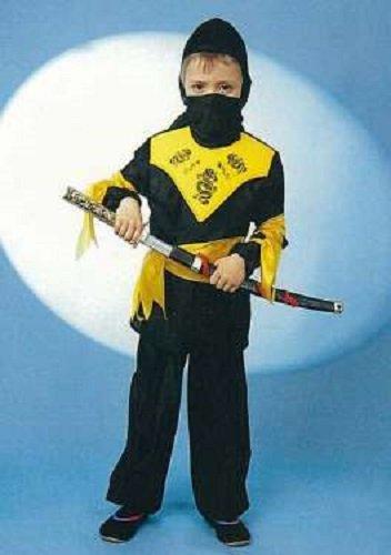 Gurimo-Tex 113574 Mädchenkostüm, Mädchen, Schwarz/Gelb, 104 (Japanische Krieger Mädchen Kostüm)