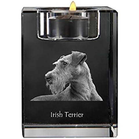Terrier irlandés, Cristal candelero, titular de la vela con el perro, recuerdo, de edición