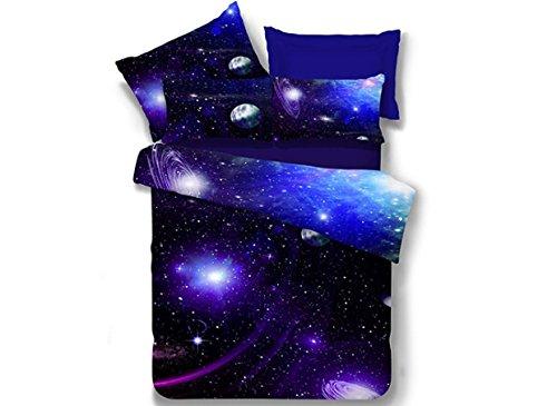 Galaxy 3D Juego de Cama 4 Piezas Ropa de Cama Single Size Juego de Sábanas Poliéster Funda de Edredón 150x200cm Sábanas 180x230cm Funda de Almohada 48x74cm*2 Azul y Negro