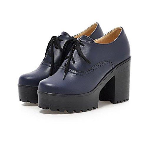 AllhqFashion Damen Rein Pu Leder Hoher Absatz Rund Zehe Schnüren Pumps Schuhe Blau