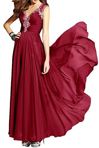 Ivydressing Damen Hochwertig Mit Strass Chiffon Lang Promkleid Festkleid Abendkleider Weinrot