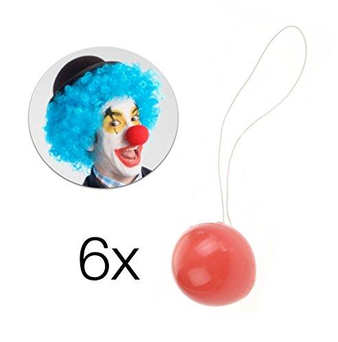 TK Gruppe Timo Klingler 6x Clown naso naso per clown da circo in rosso con elastico per bambini e adulti per uomo e donna a carnevale e carnevale