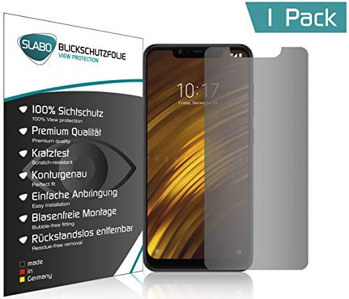 Slabo Blickschutzfolie für Xiaomi Pocophone F1   Poco F1 Sichtschutz Bildschirmschutzfolie (verkleinerte Folien, aufgr& der Wölbung des Bildschirms) View Protection Schwarz - Privacy Made IN Germany