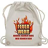 Shirtracer Feuerwehr - Feuerwehr - andere rennen raus wir rennen rein - Unisize - Naturweiß - WM110 - Turnbeutel und Stoffbeutel aus Bio-Baumwolle