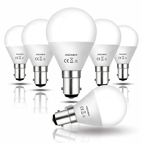 Hizashi 7W B15 LED Lampe G45, ersetzt 60W, 650LM, Warmweiß 2700K, Nicht Dimmbar, Entspricht 200° Abstrahlwinkel, 6er Pack