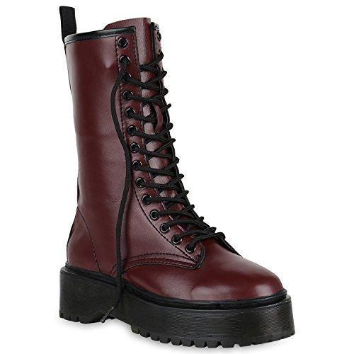 Damen Schuhe Plateaustiefel Blockabsatz Plateau Boots Leder-Optik Stiefel 150963 Dunkelrot Cabanas 39 Flandell