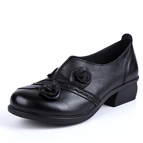 Socofy Mocassini Donna di Pelle Scarpe Donna Scarpe da Balletto Loafers Scarpe Casual Donna Primavera Estate Casual Flat Confortevole in Pelle Rotonda Testa Mocassino Pantofole Scarpe da Barca Nero