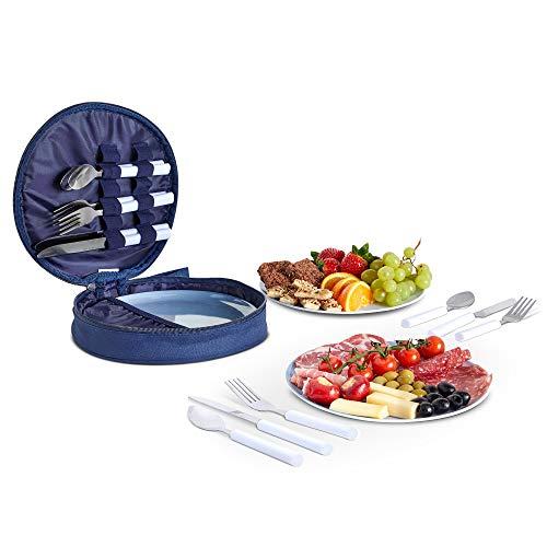 VonShef 4 Personen Picknick Set - Picknicktasche ESS-Set mit Teller und Besteck aus Edelstahl - Löffel, Messer & Gabeln - Aufbewahrungstasche