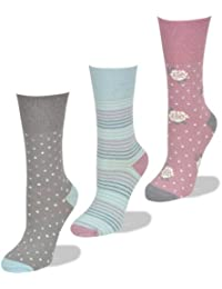 Womens Socks, Soft cuff, 3 Pairs of Pastel patterned socks, 4-8 UK, 37-42 EU, Light Hold honeycomb top, ideal elastic free Diabetic Socks