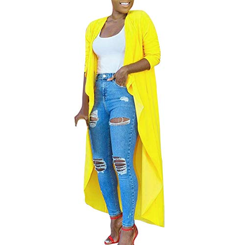 WWricotta Fashion Womens Solid Shawl Kimono Cardigan Top Long Cover Up Blouse Beachwear(Gelb,L)