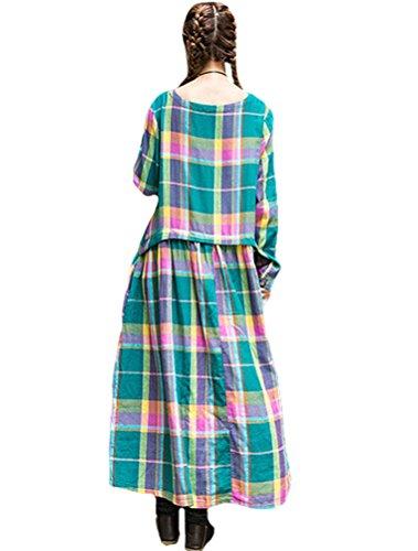 MatchLife Femme Plaid O-Cou Robe Vert