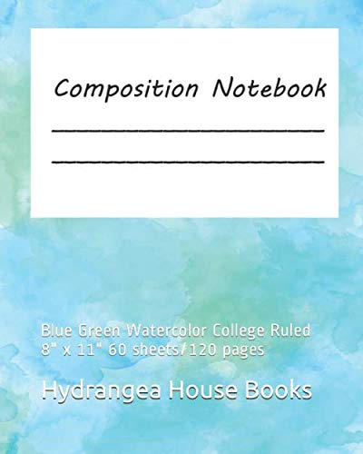 19937453b52e6 Composition Notebook: Blue Green Watercolor College Ruled 8