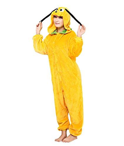 Peluche Kigurumi Pyjama, Yimidear Unisexe adulte Anime Costume Cosplay Combinaison Pyjama vêtements de nuit Loungewear Deguisement-Chien Jaune