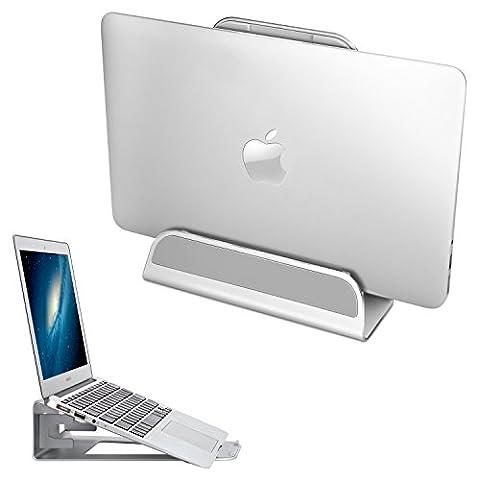 APPHOME Vertical Laptop Stand, 2 in 1 Aluminum Adjustable Desktop Holder Space-saving Display for APPLE Notebooks Macbook Pro/Air