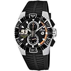 Lotus Marc Marquez Limited Edition Men's Quartz Watch with Black Dial Chronograph Display and Black Rubber Strap 15836/1