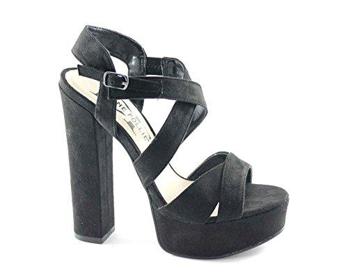 Divine Follie WS1785 Black Nero Sandali Donna Tacco plateaux Incrocio Nero