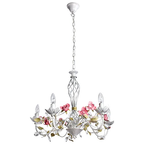 Florentiner Kronleuchter Chic-Stil Metall weiß