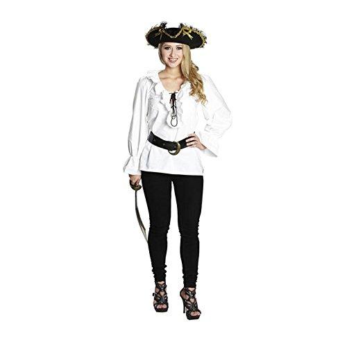 PARTY DISCOUNT NEU Damen-Bluse Piratin mit Rüschen, weiß, Gr. 46 -
