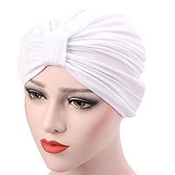Iuhan Muslim Stretch Turban Hat Chemo Cap Women Hair Loss Head Scarf Wrap Hijib Cap (White)