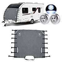 Caravan Towing Cover with LED Warning Lights, 210D Oxford Cloth Universal RV Windshield Cover for Ice and Snow, 220 * 175cm (Gray)