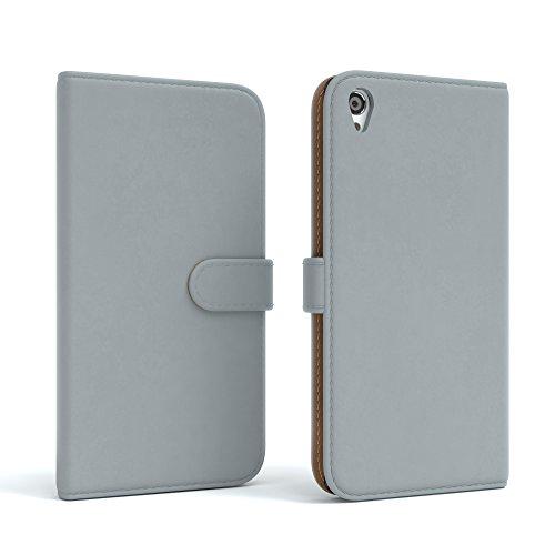 Sony Xperia Z2 Hülle - EAZY CASE Premium Flip Case Handyhülle - Schutzhülle aus Leder in Rot Hellgrau (Book)