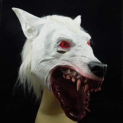 QWEASZER Halloween Cosplay Party Erwachsene Horror White Wolf Kopf Maske Geister Requisiten Lustige Maskerade Latex Tier Kopfbedeckung,White-OneSize