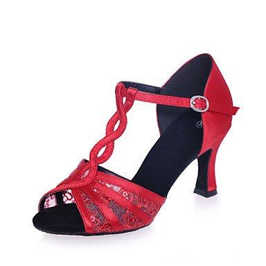 Silence @ Chaussures de danse pour femme en satin/dentelle en satin/dentelle latine Sandales Talon évasé Practise/Professional/intérieur/Performance Red
