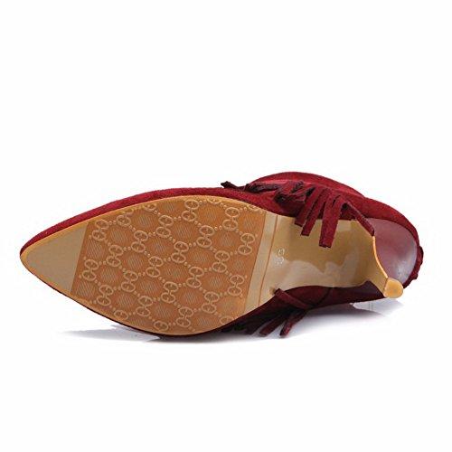 VogueZone009 Donna Pelle Di Mucca Bassa Altezza Frange Cerniera Tacco A Spillo Stivali Rosso