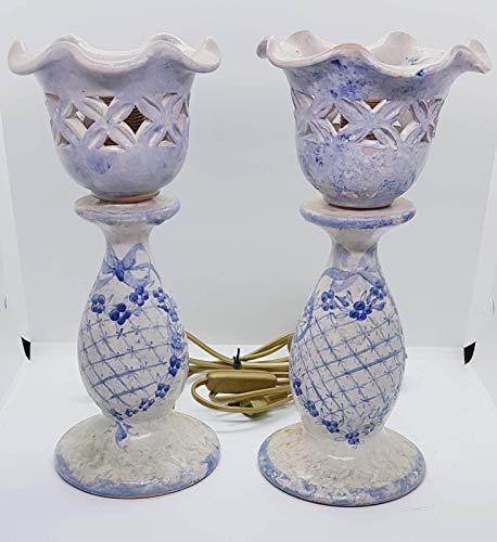 2 abat jour linea fiori blu grillage coppetta traforata + parti elettriche pezzi unici realizzato e dipinto a mano le ceramiche de castello made in italy dimensioni: 27 x 12, 5 centimetri cadauno