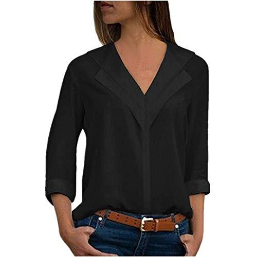 ITISME FRAUEN BLUSE Mode Damen Chiffon Solid T-Shirt Büro Damen Tasche Chiffon Casual Shirt Top...