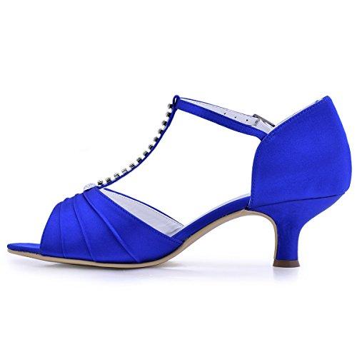 Caviglia Elegantpark Scarpe Salome 035 Da Blu Sposa Sfera Pompe Cinghia donna Raso Tacco Mitalon Diamante El FAqrYF