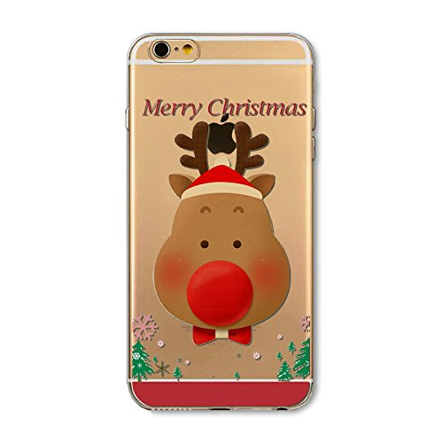 Christmas Hülle iPhone 7 Plus / iPhone 8 Plus LifeePro Weihnachts Cover Ultra dünn Weiches Transparent TPU Gel Silikon Handy Tasche Bumper Case Anti-Scratch Back Cover Full Body Schutzhülle für iPhone Christmas Deer
