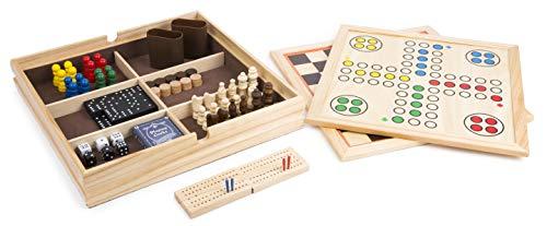 small foot 11277 Spielesammlung 9 in 1 aus Holz, Klassische Gesellschaftsspiele Spielzeug, Mehrfarbig