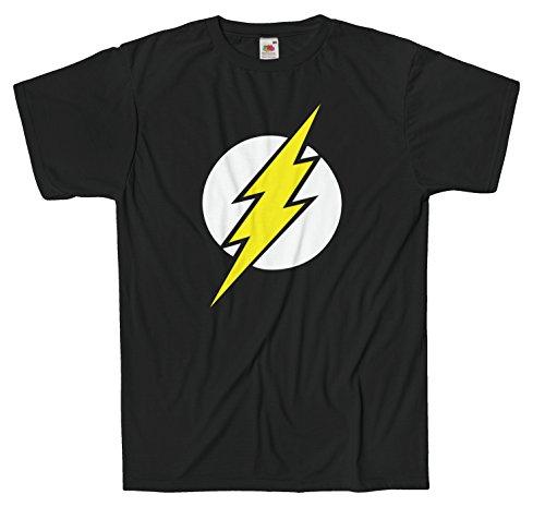 T-shirt Uomo Flash Maglietta Big Bang Theory 100% cotone LaMAGLIERIA,L , Nero