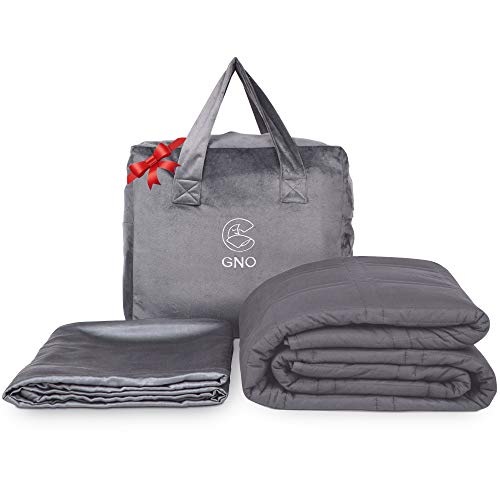 GnO Gewichtsdecke für Erwachsene & Bambus-Überzug - 9kg 152x203cm - 100{1beabb402791476927c2c8ec7429d5275386bbc9e390fb1b74952f2b9b34ec39} kühle Bio-Baumwolle - Weighted Blanket für Erwachsene mit Angst, Schlaflosigkeit oder Stress - Queen-Bett - Dunkelgrau