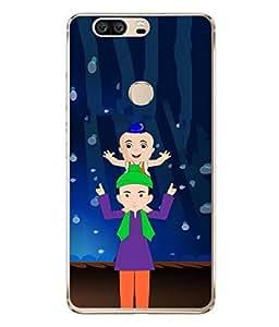 PrintVisa Designer Back Case Cover for Huawei Honor V8 (Hands Blue Brown Purple Green Performance Show Wallpaper)