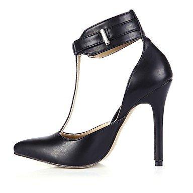 Sanmulyh Femmes Chaussures Pu Été Automne T-strap Talons À Talons Hauts Bout Pointu Pour La Fête De Mariage Et Amp; Soir Noir Noir