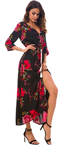 KorMei Damen Blumen Maxikleid Bohemien 3/4 Arm A-Linie Lang Kleider Sommerkleid Partykleid Schwarz&Rot XL