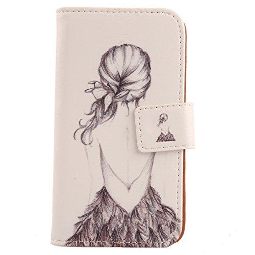 Lankashi PU Flip Leder Tasche Hülle Case Cover Schutz Handy Etui Skin Für ZTE Blade VEC 4G Back Girl Design