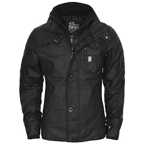 Crosshatch, cappotto invernale da uomo, imbottito,doppia chiusura con zip e bottoni black large
