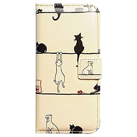 Beaucov Packing Bcov Black Cat White Cat Card Slot Leather Wallet Cover Case For iPhone 7 Plus