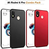 Goelectro Redmi 6 Pro Cases And Cover Black Silicon Ultra Thin Shockproof 360 Degree Hard Matte Finish Back Case For Mi Redmi 6 Pro (Red And Black)- Pack Of 2