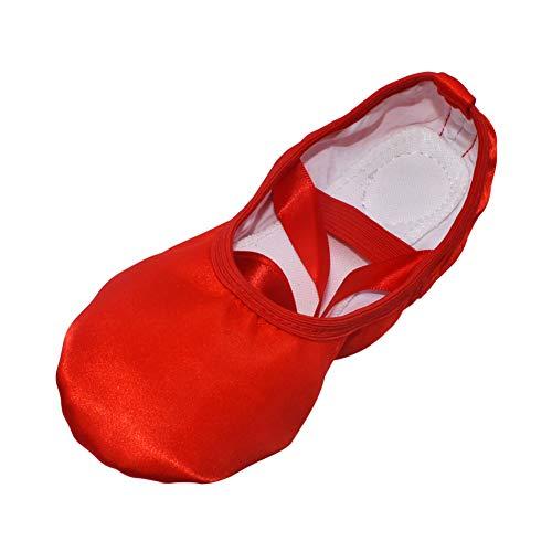 Meijunter Mädchen Damen Tanzschuhe Ballet Shoes - Seide Ribbon Schnüren Ballettschuhe Rindsleder Sohle Flach Ferse Yoga Gymnastik Ausbildung Leistung Tanzen Slippers Schuhwerk, Rot, 34 EU - Rote Ballettschuhe