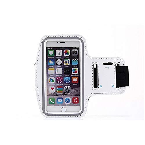 Outdoor Sports Arm Bag Unisex Outdoor Sports Arm mit Iphone6s Plus Handyhülle Multifunktionale Sportarmband Zum Laufen Workout Radfahren Wandern Joggen (Farbe : Weiß, Größe : M)