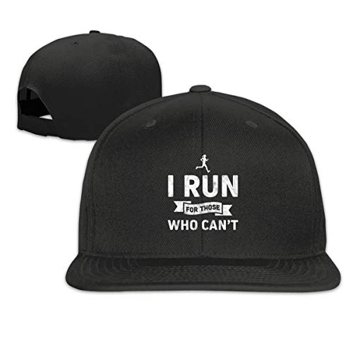 Preisvergleich Produktbild POBOC I Run for Those Who Can't Washed Unisex Adjustable Flat Bill Visor Baseball Cap Black