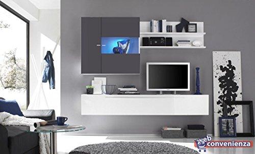 Primo 16 antracite parete attrezzata soggiorno moderna porta tv