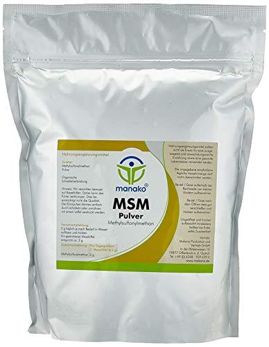 manako MSM (Methylsulfonylmethan) kristallines Pulver, Premiumqualität, 99.9{09247916493bca0504bb109f9f41c3d0fdce3cfca315c24dddba872505d9d93a} rein, 1000 g Beutel (1 x 1 kg)