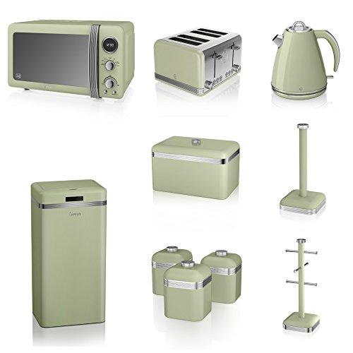 Swan Green Kitchen Appliance Retro Set Of 10 - Green Retro Digital Microwave, 20 Litre, 800 Watt, 1.5 Litre Jug Kettle & Retro Stylish 4 Slice Toaster Retro Breadbin, 3 Canisters, Towel Pole, 6 Mug Tree And Sensor Rubbish Bin Set